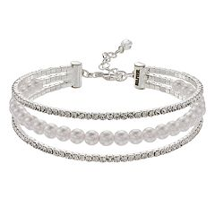 Napier Simulated Crystal & Simulated Pearl Triple Row Bracelet