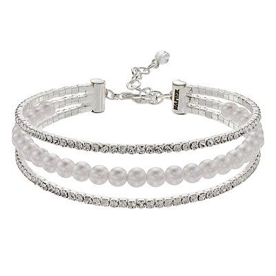 Napier Simulated Crystal Triple Row Bracelet