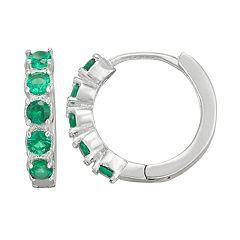 Junior Jewels Kids' Sterling Silver Simulated Birthstone Hoop Earrings