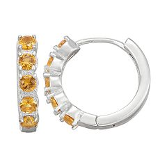 Junior Jewels Kids' Sterling Silver Simulated Birthstone Hoop Earrings