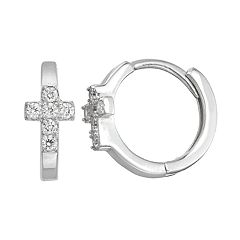 Junior Jewels Kids' Sterling Silver Simulated Birthstone Cross Earrings
