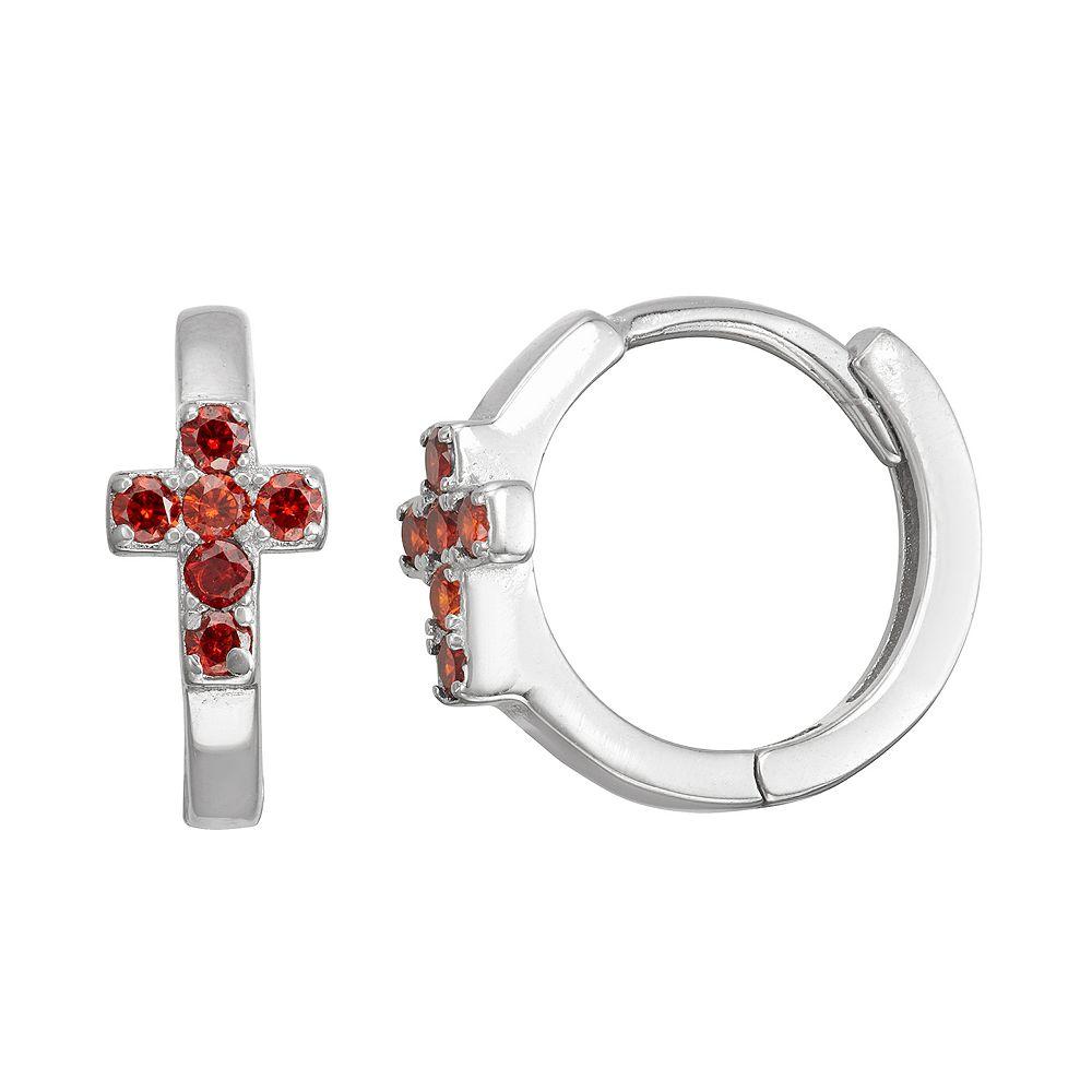 Junior Jewels Kids' Sterling Silver Simulated Birthstone Cross Earrings