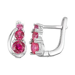 Junior Jewels Kids' Sterling Silver Simulated Birthstone Graduated Earrings