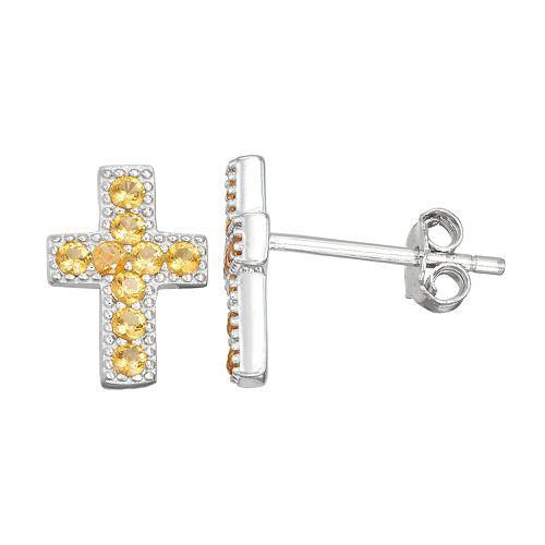 Junior Jewels Kids' Sterling Silver Simulated Birthstone Cross Stud Earrings