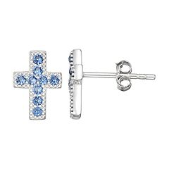 Junior Jewels Kids' Sterling Silver Simulated Birthstone Cross Stud Earrings