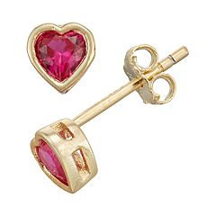 Junior Jewels Kids' Gold Tone Sterling Silver Simulated Birthstone Heart Stud Earrings