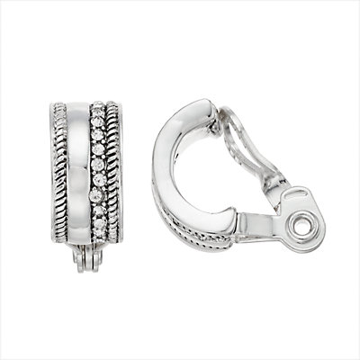 Napier Textured Clip-On Semi Hoop Earrings