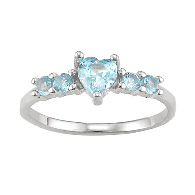Junior Jewels Kids' Sterling Silver Birthstone Heart Ring