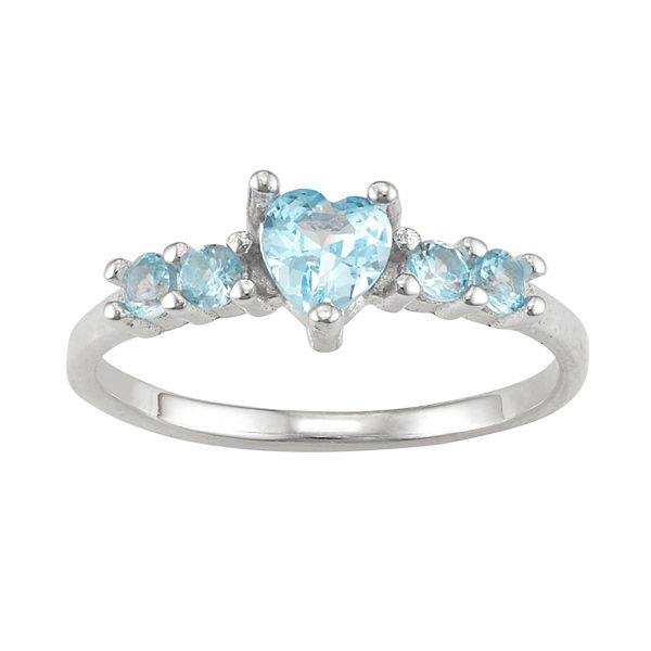 Junior Jewels Kids' Sterling Silver Birthstone Heart Ring