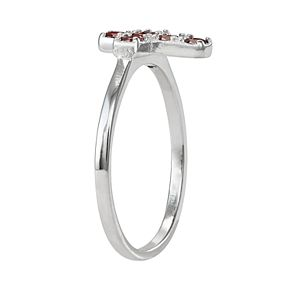 Junior Jewels Kids' Sterling Silver Cubic Zirconia Birthstone Cross Ring