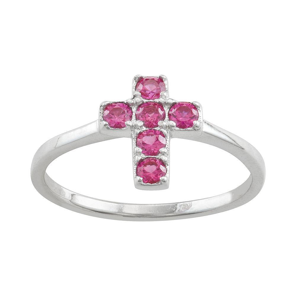 Junior Jewels Kids' Sterling Silver Cubic Zirconia Birthstone Cross Ring