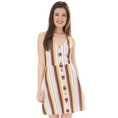 Juniors' IZ Byer Fit & Flare Sleeveless Button Down Dress
