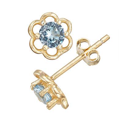 Junior Jewels Kids' Sterling Silver Cubic Zirconia Birthstone Flower Earrings