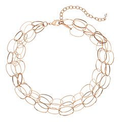 18 BIRCH MRKT Rose Gold Tone Link Detail Multi Strand Necklace