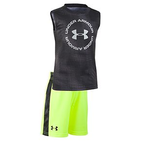 Toddler Boy Under Armour Logo Muscle Tee & Shorts Set