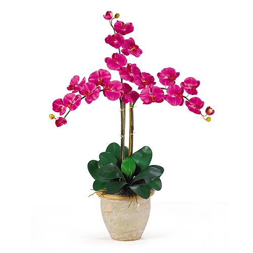 Nearly Natural Triple-Stem Silk Phalaenopsis Orchid Floral Arrangement $ 41.24