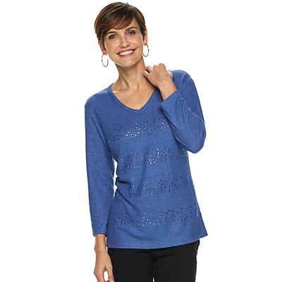 Women's Cathy Daniels Embellished-Stripe Top