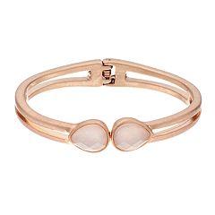 18 BIRCH MRKT Rose Gold Tone Simulated Crystal Clasp Bangle Bracelet