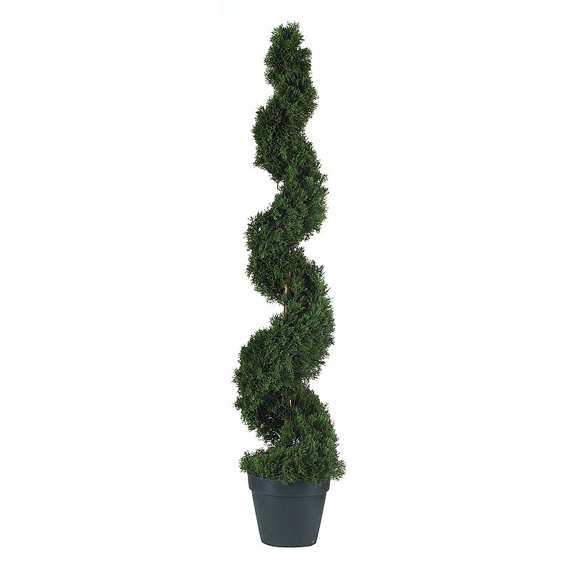 nearly natural 4-ft. Silk Cedar Spiral Tree Cedar curves upward in a delicate spiral for endless beauty. Rich brown center pole peeks out for a touch of glowing shine. Nursery pot slips easily into larger, decorative planters. Height: 4-ft. Silk/plastic Wipe clean  Size: One Size. Color: Multicolor. Gender: unisex. Age Group: adult.