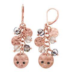 18 BIRCH MRKT Rose Gold Tone Charm & Bead Detail Drop Earrings