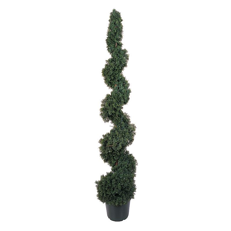 nearly natural 5-ft. Silk Cedar Spiral Tree Cedar curves upward in a delicate spiral for endless beauty. Rich brown center pole peeks out for a touch of glowing shine. Nursery pot slips easily into larger, decorative planters. Height: 5-ft. Silk/plastic Wipe clean  Size: One Size. Color: Multicolor. Gender: unisex. Age Group: adult.