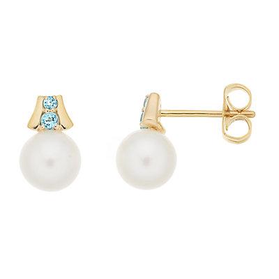 10k Gold Freshwater Cultured Pearl & Gemstone Stud Earrings