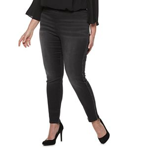 5bcd36192da Plus Size Jennifer Lopez Twill Pull-On Jeggings. Regular