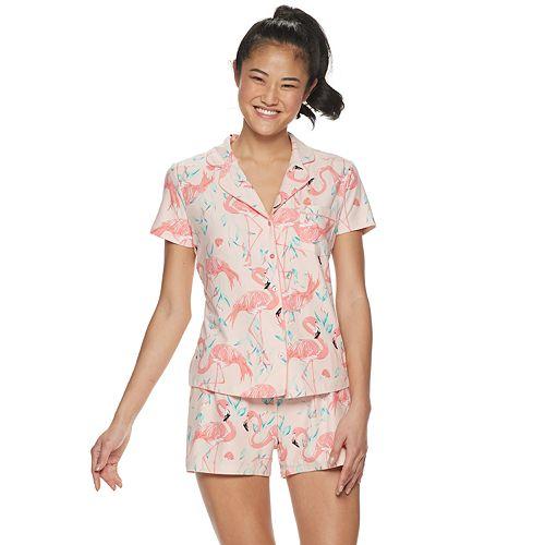 Women's Be Yourself Collared Shirt & Shorts Pajama Set