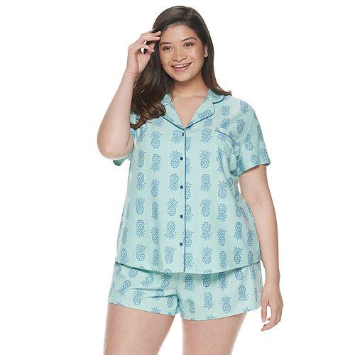 Plus Size Be Yourself Sleep Shirt & Pajama Shorts Set