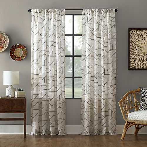 Archaeo Jigsaw Embroidery Linen Blend Rod Pocket Curtain Panel