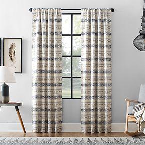 Archaeo Ikat Stripe Cotton Blend Blackout Window Curtain