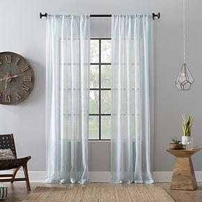 Archaeo Ticking Stripe Textured Cotton Blend Sheer Rod Pocket Curtain Panel