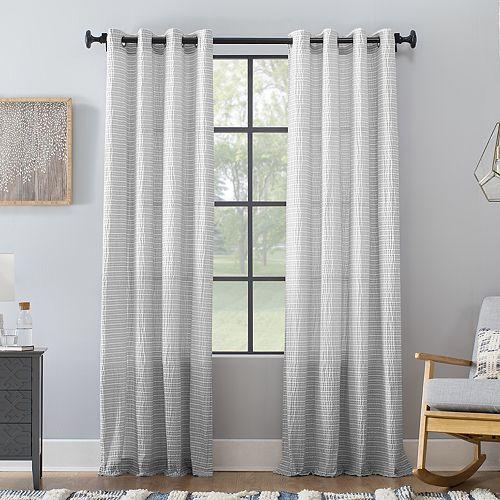 Archaeo Seersucker Stripe Cotton Blend Grommet Curtain Panel