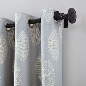 Archaeo Herringbone Leaf Cotton Blend Grommet Top Curtain Panel