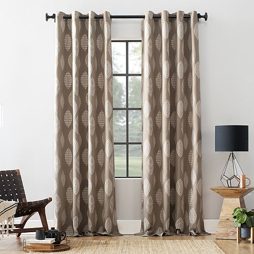 Archaeo Herringbone Leaf Cotton Blend Grommet Top Curtain Panel