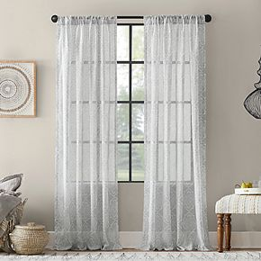 Archaeo Global Block Textured Cotton Blend Sheer Rod Pocket Curtain Panel