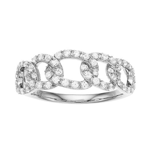 Sterling Silver Lab-Created White Sapphire Link Ring