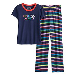 """Girls 4-16 Jammies For Your Families """"Love You Always"""" Rainbow Pride Top & Bottoms Pajama Set"""