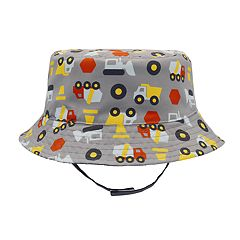 Toddler Boy Reversible Construction Truck Bucket Hat