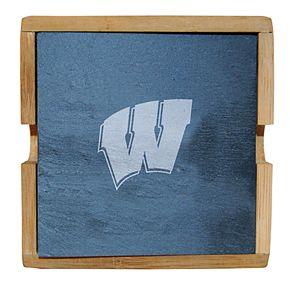 Wisconsin Badgers Slate Coaster Set