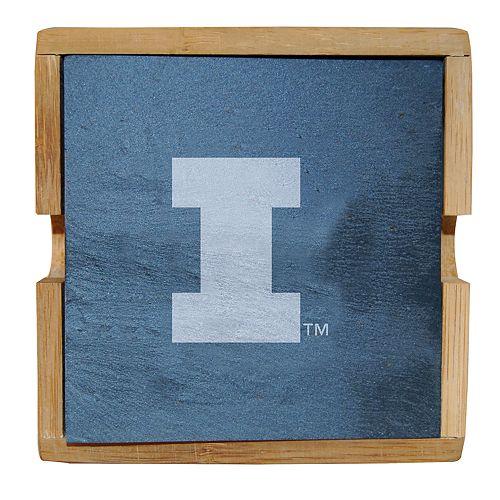 Illinois Fighting Illini Slate Coaster Set