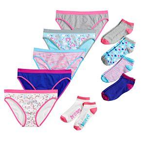 Girls 6-12 SO® 5-pack Seamless Bikini Panties & 5-pack No-Show Socks