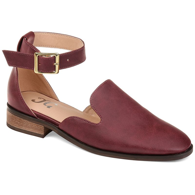 Make a splash with these uniquely styled Journee Collection Loreta women\\\'s flats. SHOE FEATURES Square Buckle Ankle Strap Loafer Style Square Toe Shape SHOE CONSTRUCTION Faux leather upper Polyurethane lining Polyurethane midsole Manmade and rubber outsole SHOE DETAILS Square toe Buckle closure Padded footbed 0.5-in platform Size: 12. Color: Red. Gender: female. Age Group: adult. Material: Synthetic.