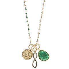 18 BIRCH MRKT Simulated Stone & Charm Pendant Bead Chain Necklace
