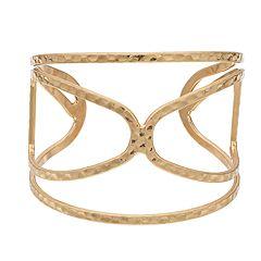 18 BIRCH MRKT Gold Tone Textured Open Cuff Bracelet