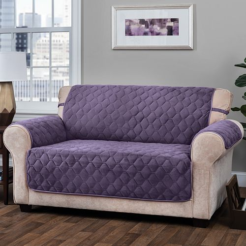 Jeffrey Home Solid Logan Micro Velvet Plush Loveseat Furniture Cover