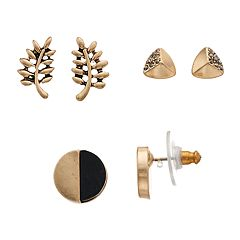 18 BIRCH MRKT Gold Tone Simulated Stone Leaf Motif Stud Earring Set