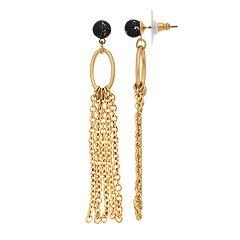 18 BIRCH MRKT Gold Tone Oval Tassel Detail Drop Earrings
