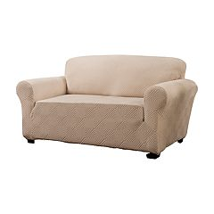 Jeffrey Home Stretch Shapely Diamond Loveseat Slipcover Furniture Cover