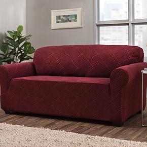 Jeffrey Home Stretch Shapely Diamond Sofa Slipcover Furniture Cover